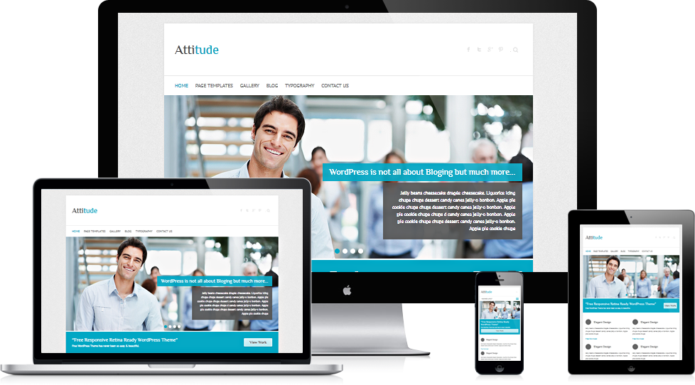 Attitude free easy simple responsive business wordpress theme slideshow wajeb