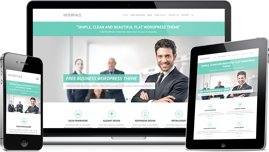 Interface - Free Easy Simple Flat Responsive Business WordPress Theme
