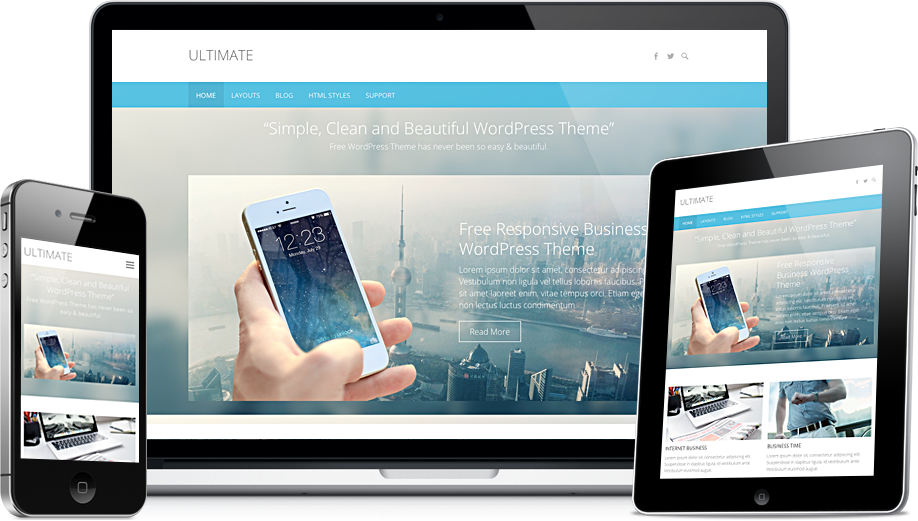 Ultimate - Free Easy Simple Flat Responsive Business WordPress Theme